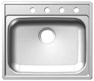 SS704 Kindred Stainless Steel Sink & Faucet 25 x 22 x 7 single bowl