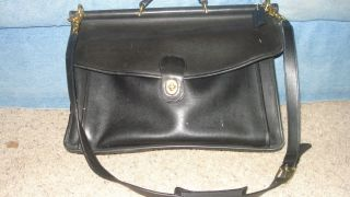 Vintage COACH Messenger LARGE Folio black leather bag Briefcase