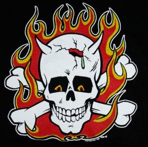 Mens XL Rockabilly T Shirt Flame Skull Piz Artist Vince Ray Kustom