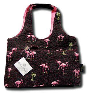 Donna Sharp Black Pink Flamingo Savvy Bag Purse Case NW