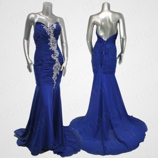 Stock Blue Prom Ball Gown Formal Long Maxi Bead Bridesmaid Dress