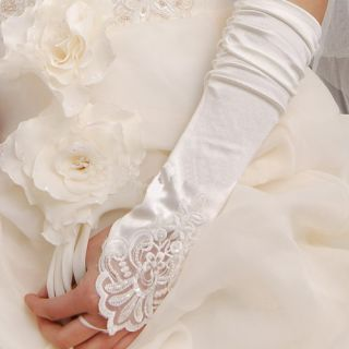 White Ivory Gloves Mantilla Stretchy Bridal Wedding Gown Prom Gloves