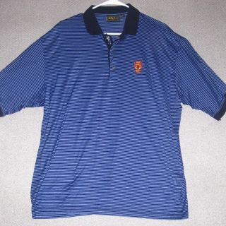 Excellent Bobby Jones Golf Polo Shirt Golfer Placket Blue Stripe Mens