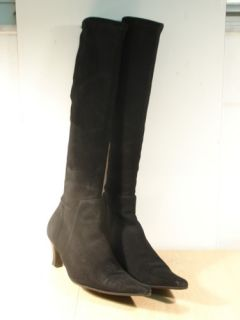 Fratelli Rossetti Black Suede Knee High Boots 7 B