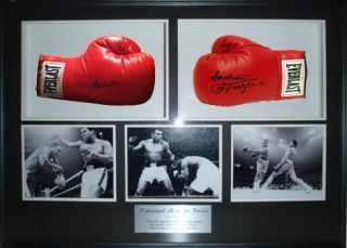 Muhammad Ali Joe Frazier Steiner Signed Boxing Glove 25x38 Shadow Box