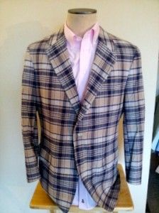 Vintage Brooks Brothers Madras Cotton Blue and Creme Plaid Blazer Size