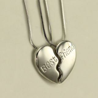 BFF Best Friend Two Heart Pendant Necklace High Polish Silver Tone
