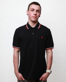 Fred Perry Mens Classic Polo Shirt Navy White Red Size XLarge