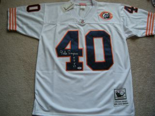 Gale Sayers HOF Signed Front White Chicago Bears rowback Jersey w