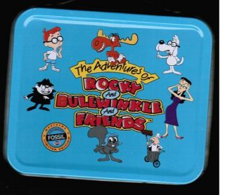 BULLWINKLE Collectible Mini Metal Lunchbox with PIN Fossil Watch BOX