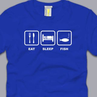 Eat Sleep Fish T Shirt Medium Funny Fishing Gear Hunting Bass Outdoor