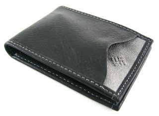 Columbia Mens Black Leather Front Pocket Wallet