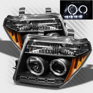 2005 2008 Nissan Frontier Twin Halo LED Projector Headlights Black