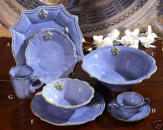 Italy Fleur de Lis Blue Ceramic Serving Bowl Dinnerware