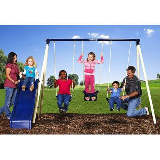 New Metal Swing Set Kids Slide Outdoor Play Toy Glider