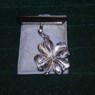 Silver Stamped Four Leaf Clover Pin Brooch Also A Charm Or Pendant