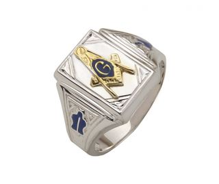 Solid Back Sterling Silver Gold Masonic Freemason Mason Ring