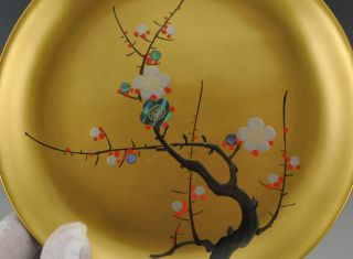 Lovely Fuji Japanese Lacquered Bowl Plate Tree Design