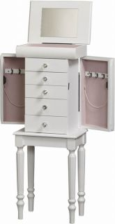 New Crisp White Jewelry Armoire Box Lingerie Chest Lined Floor Fast