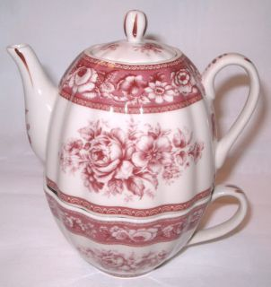 red transferware floral pattern tea for one set please scroll down to
