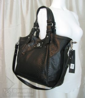 MARC JACOBS Totally Turnlock Fran Python Embossed Tote BLACK Bag NEW