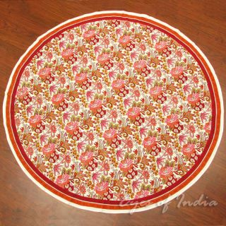 RED ROUND BLOCK PRINT TABLECLOTH Floral Linen Ethnic Decorative Art