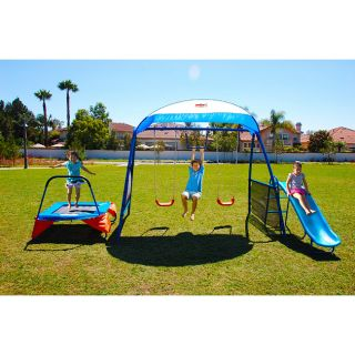 Steel Frame Fitness Workout Fun Swing Set Slide Playground New