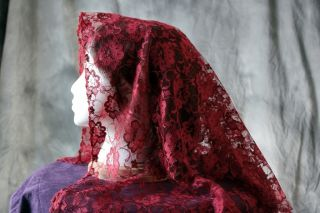 Spanish Style RED Wedding Veil  Mantilla   Head Covering  Chapel Veil