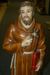 Fine Older Statue of St Francis w Glass Eyes