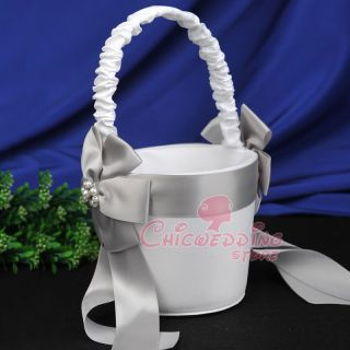 Satin Wedding Baskets Beading Flower Bow Wedding Flower Girl Basket