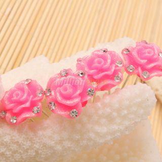 Fashion Elegant Stylish Rose Red Flower Hair Pins Clip Jewelry