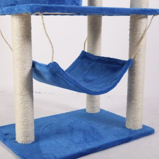 57 Cat Tree Condo House Scratcher Pet Furniture Bed 04 BLUE