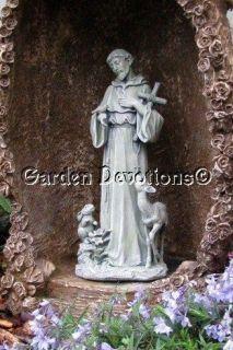 St Francis w Bunny Deer Cross Outdoor Garden Yard Statue Fascinating