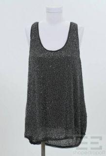 DVF Diane Von Furstenberg Black Sequin Sleeveless Top Size 12