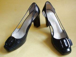 Franco Sarto Black Cut Out Heels Patent Buckle Leather Sz 8 5 Shoes