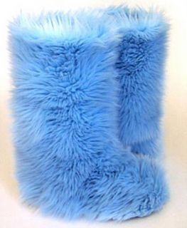 Baby Blue Faux Fur Boots   Fluffy Fuzzy Boots