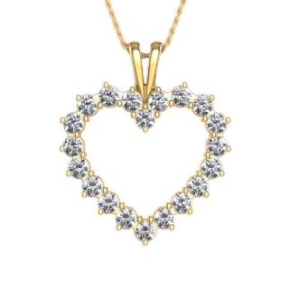 SI1 G 0 50Ctw Real Diamond Jewelry Yellow Gold Heart Pendant Necklace