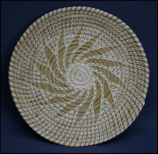 Tohono OOdham Open Stitch Basketry Tray Weaver Identified Lupe Frank