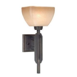 Light Mission Wall Sconce Lighting Fixture, Bronze, Amber Pearl Glass
