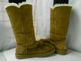 UGG Womens Bailey Button Triplet Chestnut Brown Sheepskin Tall Winter