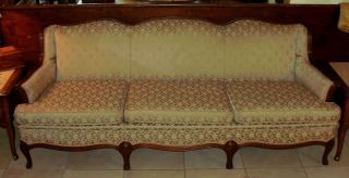 Fogle Furniture Company Formal Mahogany Framed Upholstered Sofa Beige