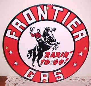 Frontier Gasoline Gas Oil Porcelain Sign Cowboy Horse