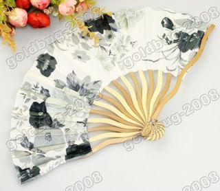Pretty Mini Silk Bamboo Folding Fan with Flowers 284
