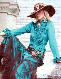 Tasha Polizzi Gabrielle Blue Topaz Silk Satin Blouse Tux Ruffle Shirt