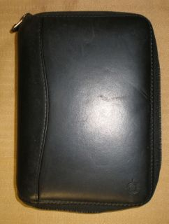 Franklin Covey Spacemaker Black Genuine Leather 6 Ring Zipper Binder