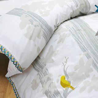 KAS Fraser White Embrd Teal Yellow Birds Queen Quilt Cover Set 2 Euros
