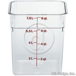 Cambro 8 Qt Camsquare Food Storage Containers 6pk 8SFSCW 135 Clear
