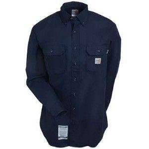 Carhartt Shirts LARGE REG FRS160 DNY Flame Resistant Twill Work Shirt