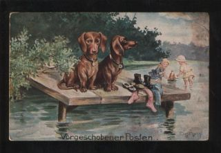 funny dachshund dogs kids by frann old description age vintage