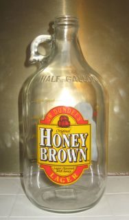 Honey Brown Beer Half Gallon Glass Jug   With Handle  Growler